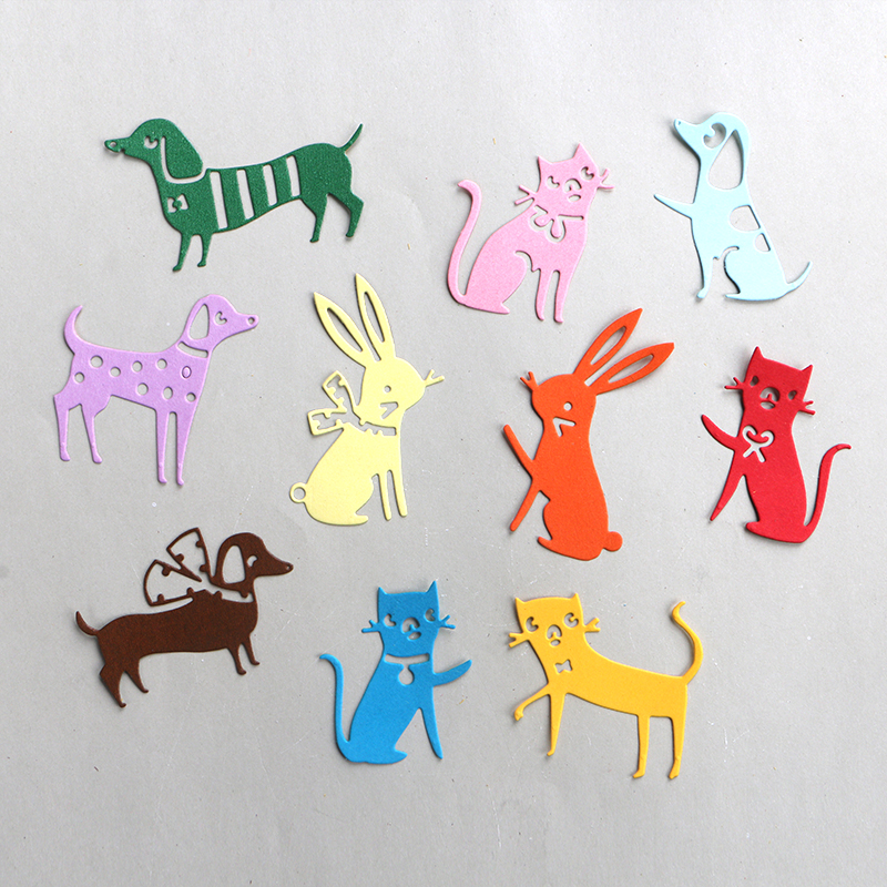 DUOFEN METAL CUTTING DIES lovely font b pets b font dogs cats and rabbits stencil DIY