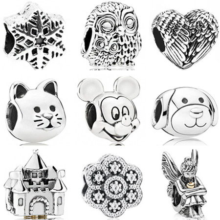 Pandora Bracelets Necklaces Charms Beads-Fit Stars Mickey Mouse Dog Tibet Owl Silver-Color