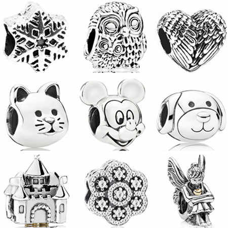 Vintage Punk Tibet Silver Color Mickey Mouse Owl Cat Dog Stars Charms Beads Fit Pandora Bracelets Necklaces for Women Making