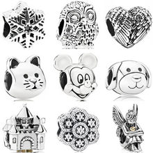 Vintage Punk Tibet Silver Color Mickey Mouse Owl Cat Dog Stars Charms Beads Fit Pandora Bracelets Necklaces for Women Making(China)
