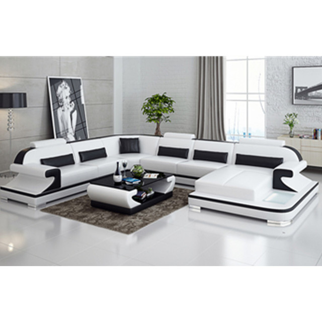 Premium Italian Leather Sectional sofa set living room furniture-in ...