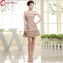 Chiffon Crystal Short Modest Wedding Guest Dress In Summer Cheap Bridesmaid Dresses Party Gown