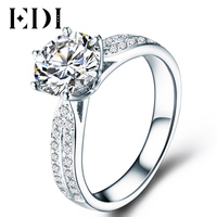 Classic Diamond Ring For Women Cathedral Trevi Halo 1 Round Cut Simulated Diamond 14K White Gold