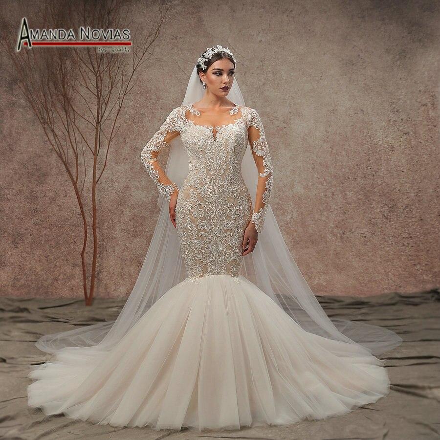 2019 New Design Long Sleeve Lace Mermaid Weddding Dresses NS3435