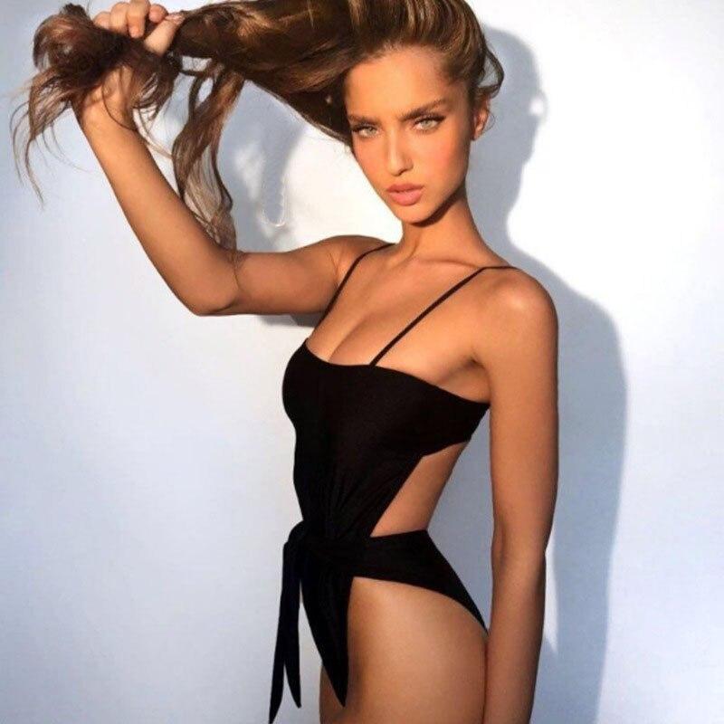 2019 Sexy traje de la mujer traje de baño una pieza Halter de una pieza empuja hacia arriba el traje de baño de vendaje traje de baño traje de desgaste femenino de playa 3336