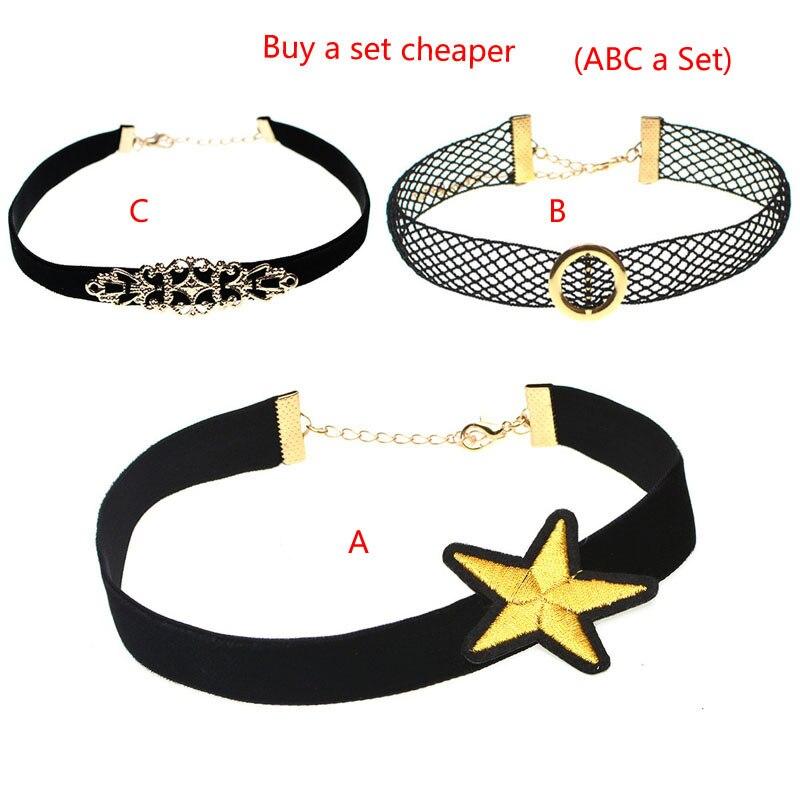 Yin Hu Jewelry Store Fashion Minimalist Personality PU Necklace Black Lace Velvet Ribbon Choker Star Elements Necklaces For Women Molian Jewelry