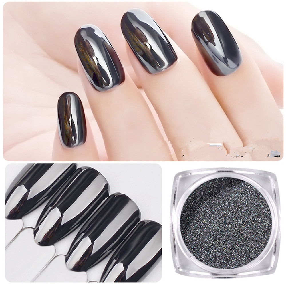 Magic Mirror Black Nail Glitter Super Smooth Nail Art Chrome Pigment Dust Shell DIY Manicure Powder Rub for Nail Art Decorations image