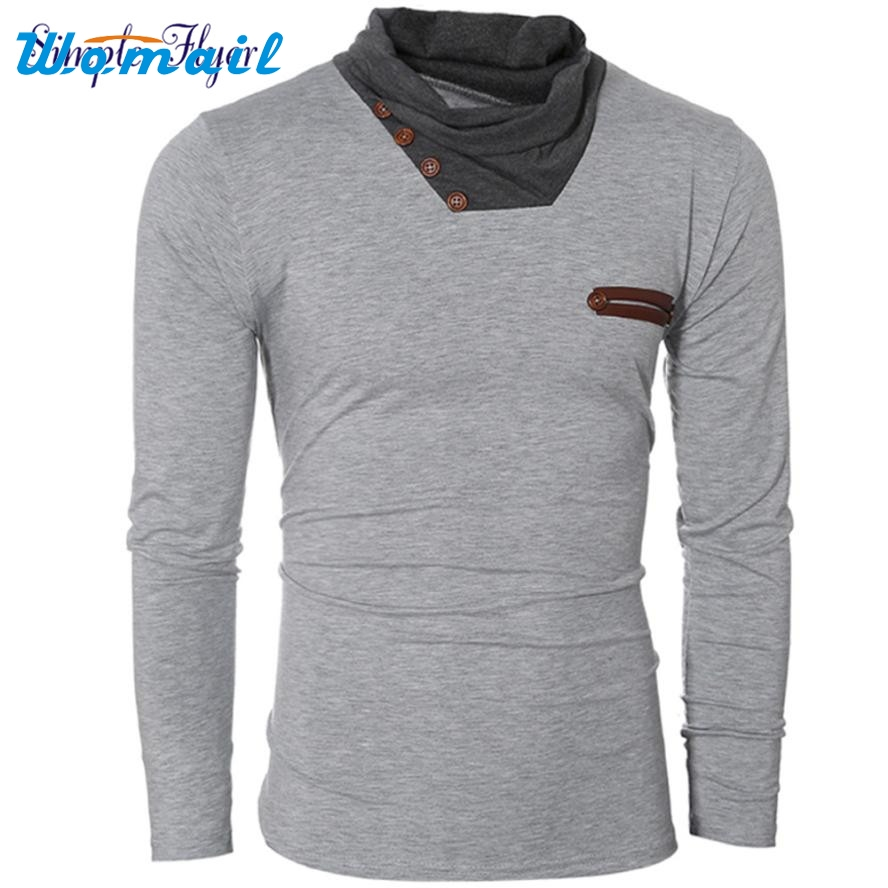 2017 Hot New Men Fashion Autumn And Winter High-necked Long-Sleeved Shirt Stitching APR 19