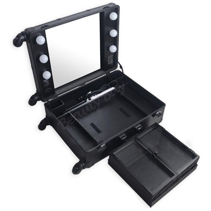 clair station 4 malette avec lumineux de black miroir. Black Bedroom Furniture Sets. Home Design Ideas