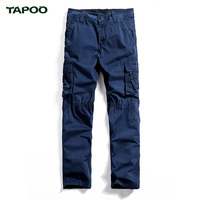 TAPOO Loose Fashion Multi-pockets Mid Overalls Brand Spring Men Casual Cargo Pants Male Cargo Pants Men Trousers Plus Size