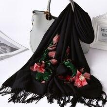 Зимний шарф 100% из тонкой шерсти шаль накидка для женщин bufanda