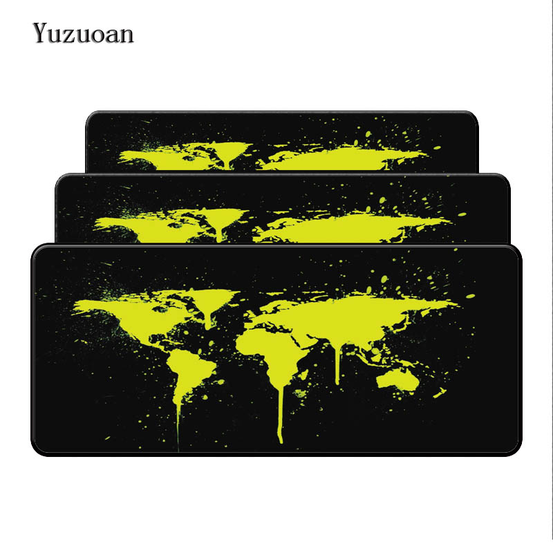 Yuzuoan Print Locking Large Edge New Fashion Yellow Old World Map Mouse Pad Great for Computer Notbook Mousepad Gaming Mouse Pad