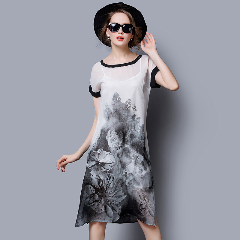 100 Silk Dress Printed Pattern Summer Dress font b Women b font a dress font b