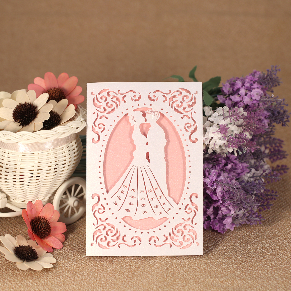 Wishmade Laser Cut Wedding Invitation Card Holder 50pcs Gold Hollow Invite Design Enement Bridal Shower Printable
