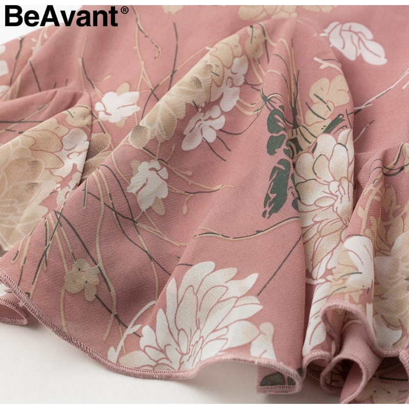 BeAvant Bohemian print summer skirts womens Ruffle pleated floral short boho skirt female High waist chiffon beach mini skirt 10