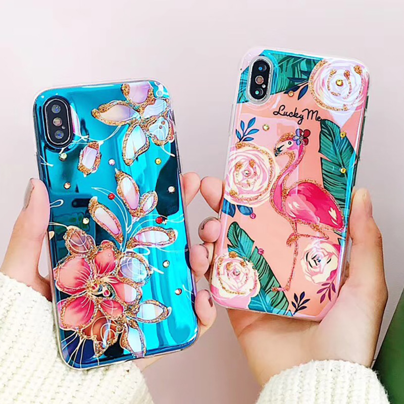 6116d0fd61f Bling Diamond Phone Case for iphone XS Max 8 8 PLUS Blue Ray Lovely  Flamingo Floral