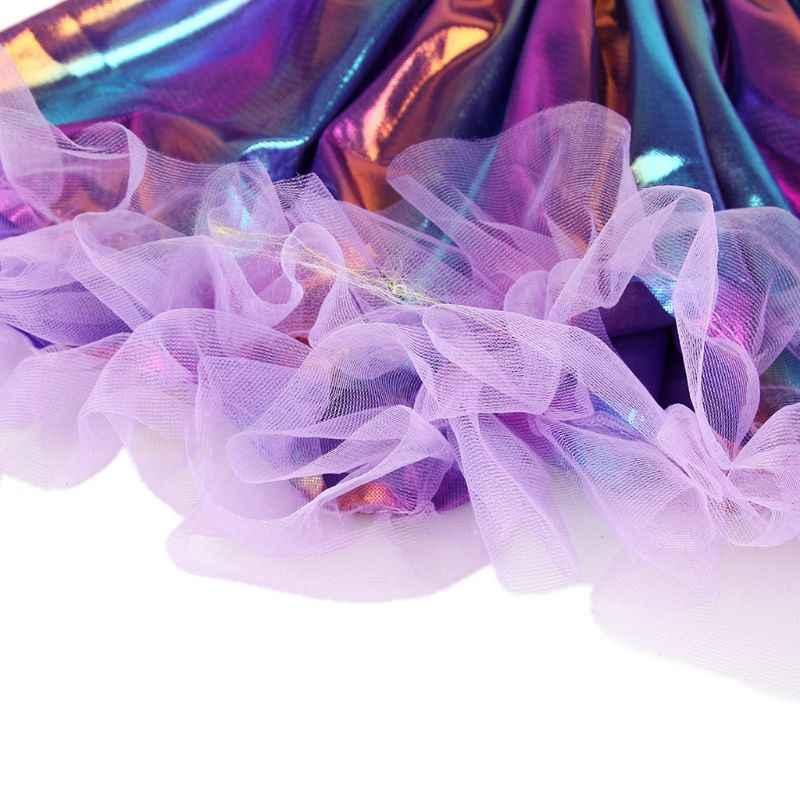 Falda tutú plisada de rayas Arco Iris holograma de danza Rave de Ballet para niñas pequeñas con volantes y brillo fiesta de Halloween Pettiskirt 2-9T