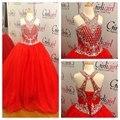 Halter Pescoço Fora Do Ombro de Strass Cristal Beading A Linha Vermelha Vestidos Quinceanera Vestidos de Baile