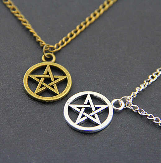 Fashion Supernature Metal silver Gold Pentagram Statement Pendant Necklace Movie Collection For Men Women Logo Sign Jewelry