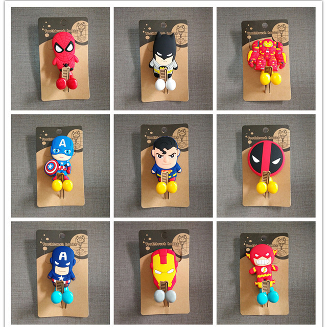 Cartoon Superman Batman Robot Captain America Suction Cup Pvc Toothbrush Holder Hooks 12items