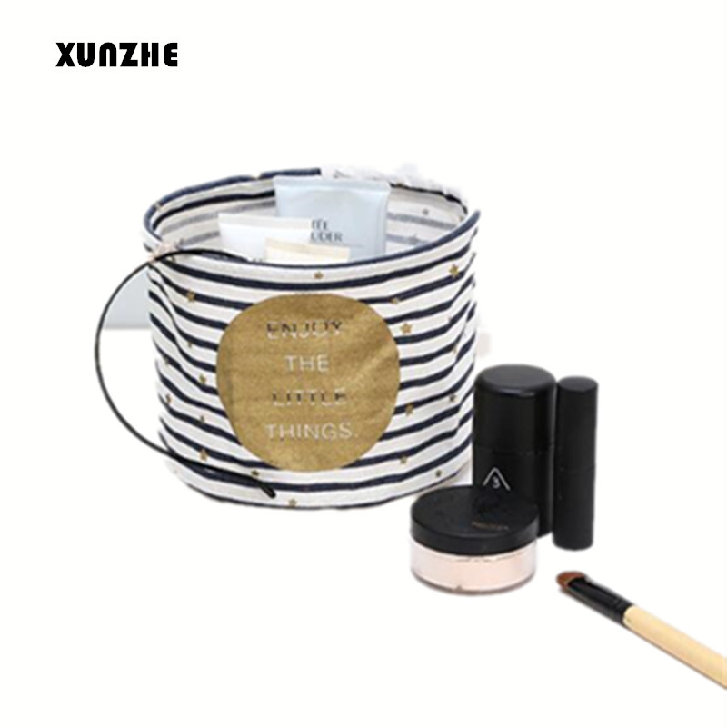 XUNZHE Baskets Foldable Dresser Desktop Makeup Organizer Cosmetics Container Cute Letter Cotton Linen Sundries Toys Storage