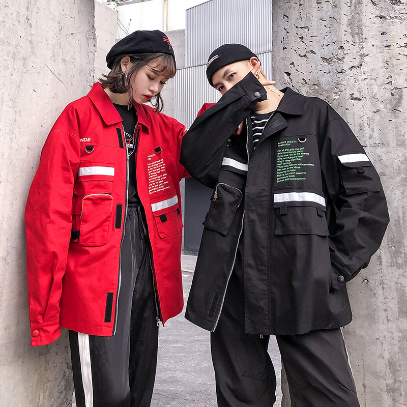 Drop Shipping Autumn Kanye West Jacket Black Red Hip Hop Coat Jeans Coat Us Size S XXXL-in Jackets from Men's Clothing