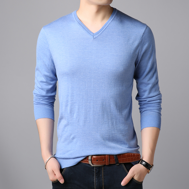2019 Fashion Brand Sweaters Men's Pullovers V Neck Slim Fit Jumpers Knitwear Solid Color Winter Korean Style Casual Mens Clothes
