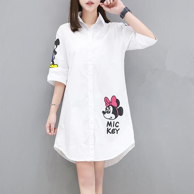 0ddee7bd2 € 15.88  Blusa con estampado de personajes de Mickey Minnie talla grande  4XL para mujer, Tops de estilo largo de primavera, camisetas de dibujos ...