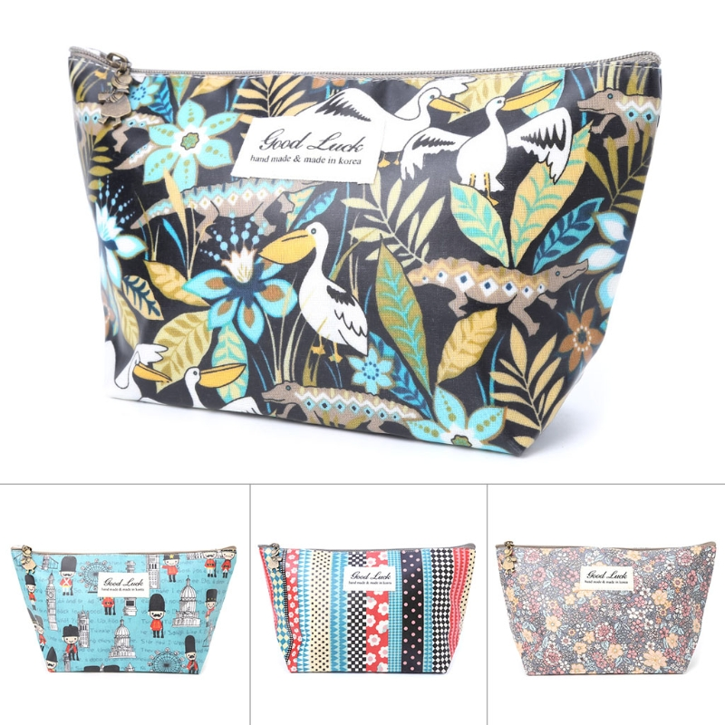 Cosmetic Bags for Travel Lady Women Fashion Waterproof Handbag Flower Makeup Clutch Pouch Make up Bags Organizer New Polyester