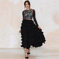 Newest A line Tiered Women Maxi Skirts Street Fashion Long Women Skirt Chic Black Flared Women Maxi Skirts Modern Skirt Long