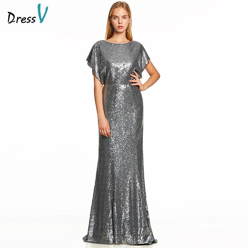 Dressv Silver A Line Long Evening Dress Backless Cheap Scoop Neck Cap Sleeves Wedding Party Formal Dress Sequins Evening Dresses