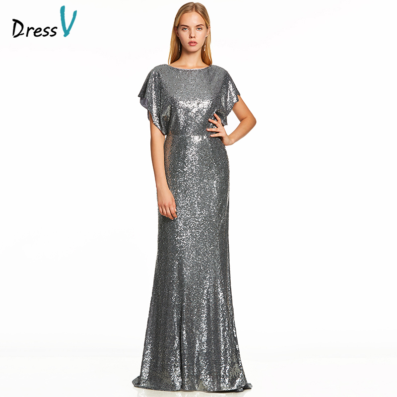 Dressv silver a line long   evening     dress   backless cheap scoop neck cap sleeves wedding party formal   dress   sequins   evening     dresses