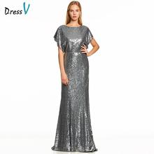 Dressv srebrna linia długa suknia wieczorowa backless tanie z wycięciem rękawy cap ślubna formalna sukienka na przyjęcie cekiny suknie wieczorowe tanie tanio Scoop Pociąg sweep Cap sleeve Krótki Długość podłogi Naturalne Formalna wieczór Poliester -Line Cekinami 489421 Silver