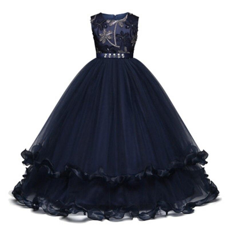Элегантное платье принцессы с вышитыми цветами для маленьких девочек на свадьбу, платье подружки невесты на свадьбу для девочек, детская Ро...