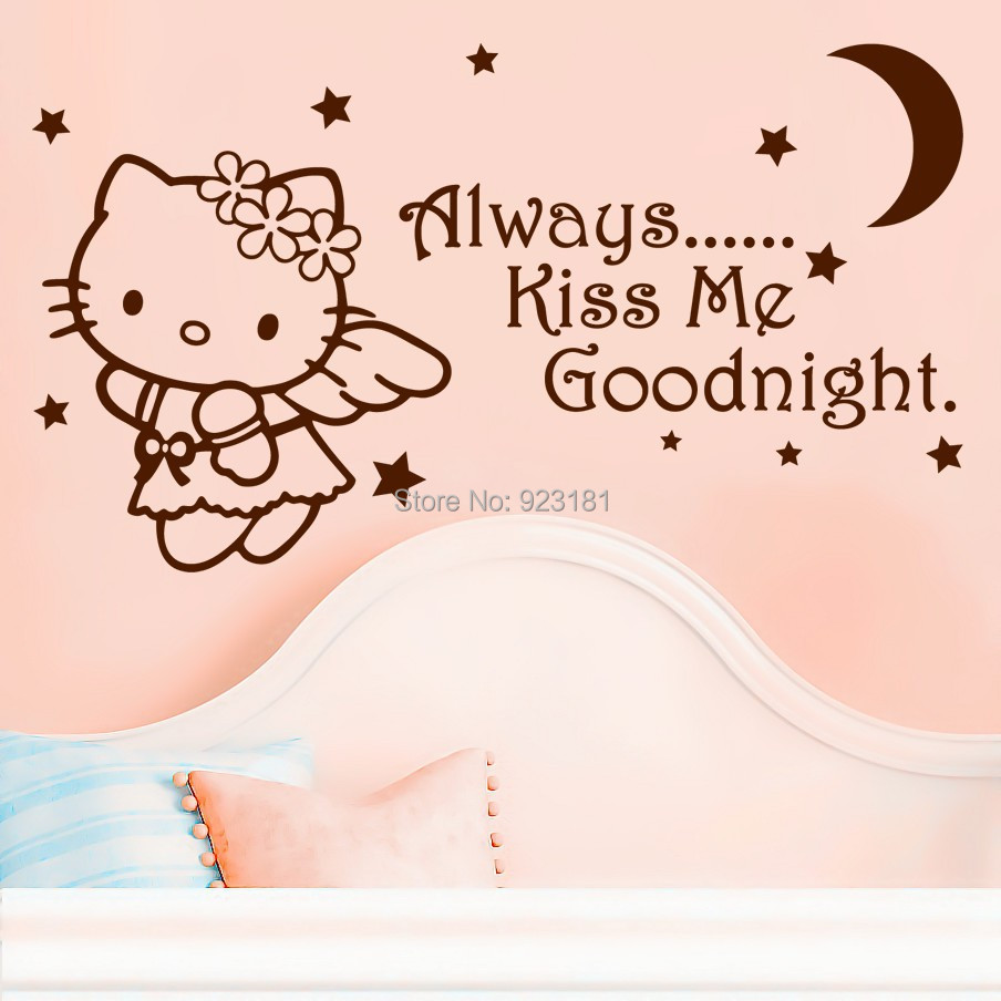 Always Kiss Me Goodnight Hello Kitty Cat Wall Art Sticker Decal Home DIY  Decoration Wall Mural