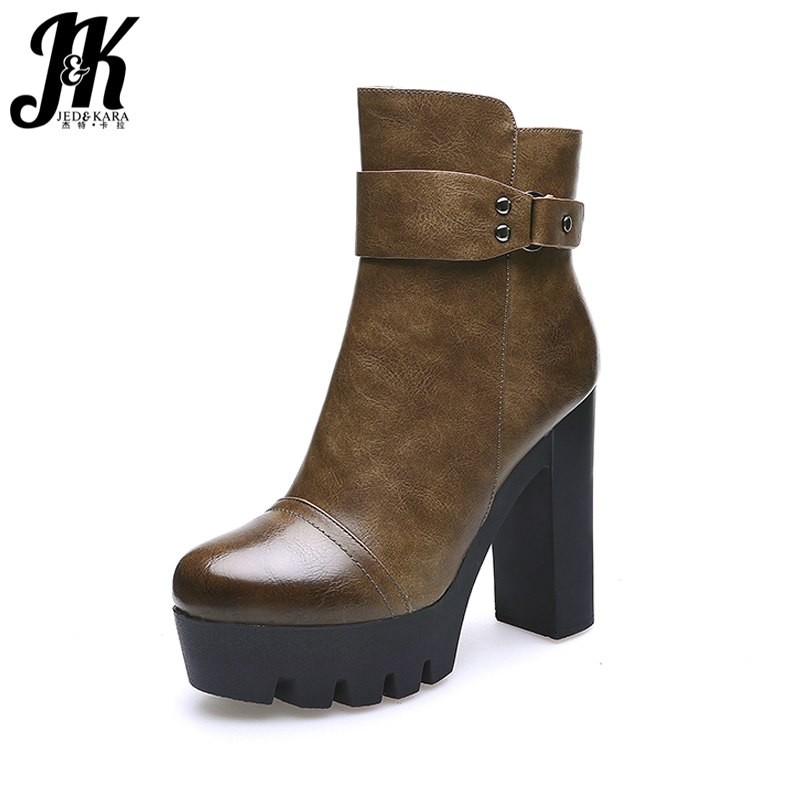 JK 2018 New Design Ladies Ankle Boots High Thick Heeled Shoes Woman Zipper Autumn Boot Female Platform Winter Shoes Round toe blaibilton new autumn winter high quality mens ankle boot 100
