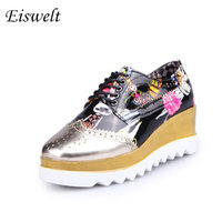Fashion Women Casual Shoes Creepers Platform Shoes Sequined Cartoon Pattern Patent Leather Wedges Brogue Shoes HL18