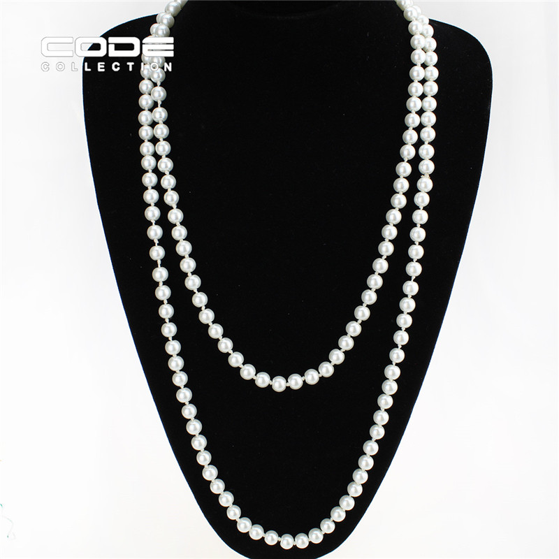 2016 Vintage 10mm Big Imitate Shiny Pearl Necklace Fashion Black Pearl Statement Necklace Wedding Party Jewelry Maxi Collier