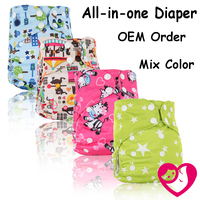 1pc Reusable Waterproof Baby All in one Cloth Diaper Nappy suede cloth Inner Printed PUL with bamboo inserts wholesale selling