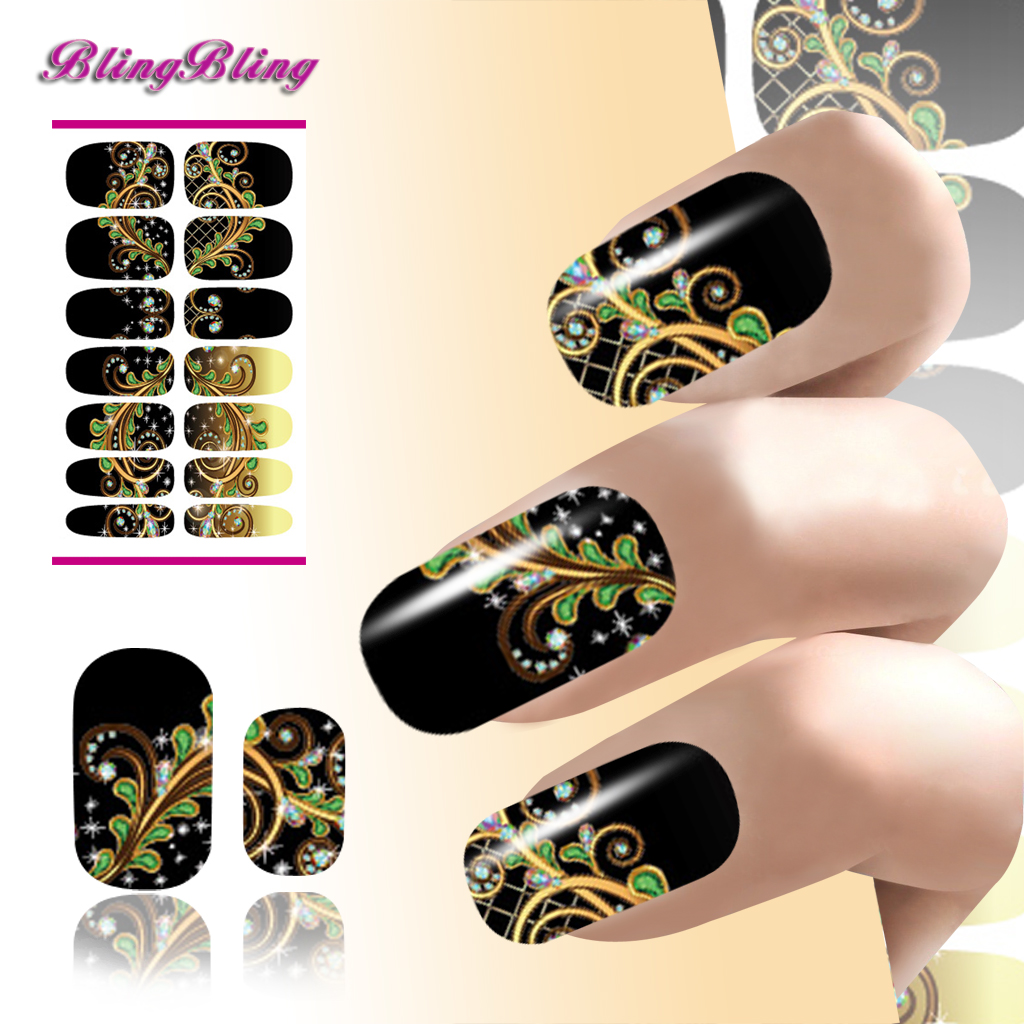 Hot Marble Water Transfer Decals Nail Stickers Flower Abstract ...