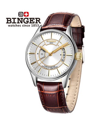 2016 Binger Watches New Gold Silver Case Men Hollow Skeleton Automatic Mechanical Coffee Leather Wrist Watch
