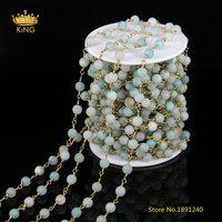5meters 6mm AAA Quality Natural Amazonite Round Stone Beads Rosary Chains Bulk,Amazonite Plated Brass Link Chains Findings ZJ146