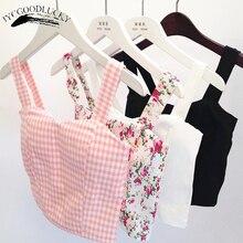 floral crop top women camisole dill tank top  cropped feminino tops women's 2017 summer women black cami short tops