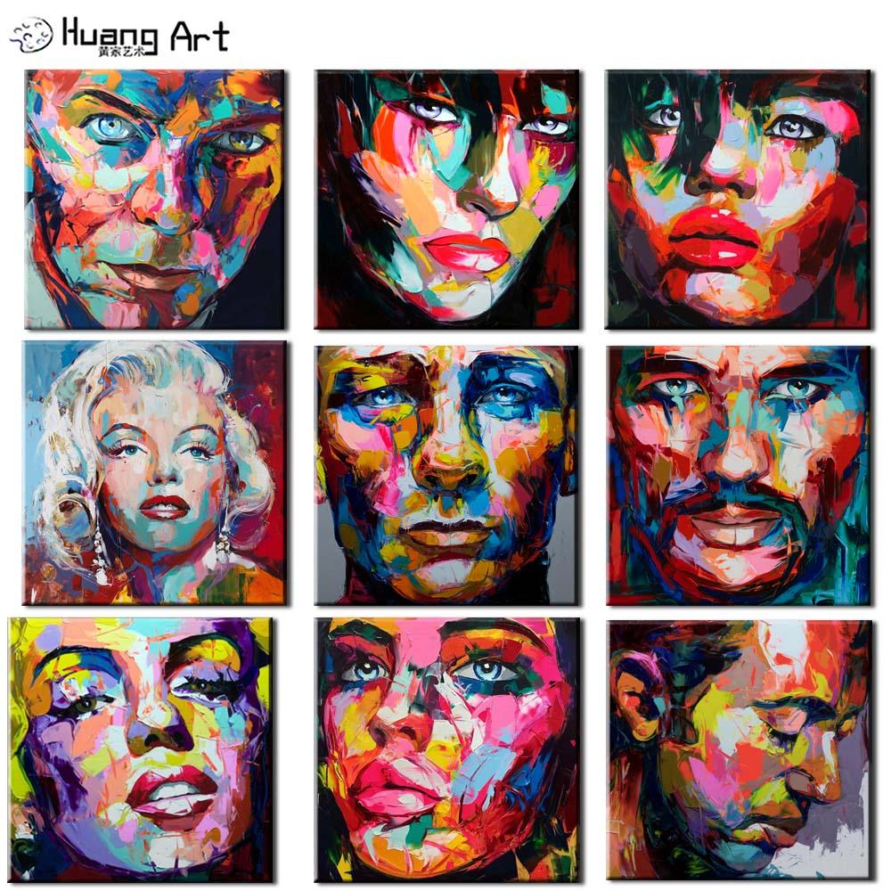 Nielly francoise arte 100% pintados à mão pessoas rosto pintura a óleo sobre tela para decoração da parede abstrata faca marilyn monroe rosto