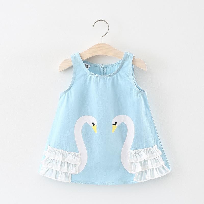 2018 Summer Baby Dress Fashion Sleeveless Infant Dress Cartoon Swan Baby Girls Dresses Princess Costume