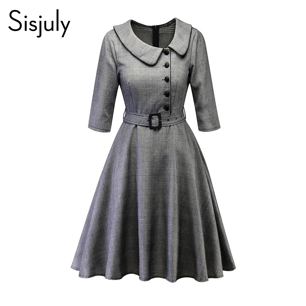 Sisjuly Women Spring Fall Winter Peter Pan Collar Single Breasted Belt Black Houndstooth Plaid Dress Office Lady Work Dresses