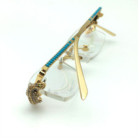 Luxury brand designer golden crocodile Rhinestone frames diamond carter glasses optical rimless frame Eyewear clear eyeglasses