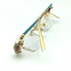 Luxus marke designer goldene crocodile Strass rahmen diamant carter gläser optische randlose Brillen klare brille