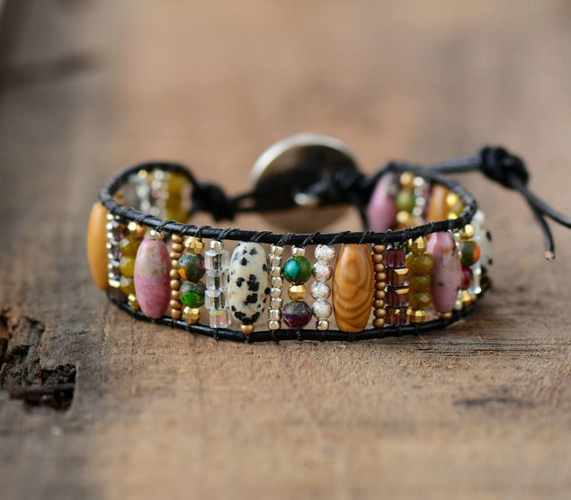 New Women Boho Bracelets Mixed Natural Stones Single Leather Wrap Bracelet Semi Precious Stone Beaded Cuff Bracelet Dropship bracelet