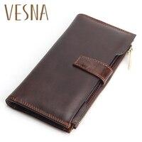 Men Wallet Long High Quality Genuine Leather Male Clutch Zipper Wallets Big Capacity Purse Cellphone Bag Pocket